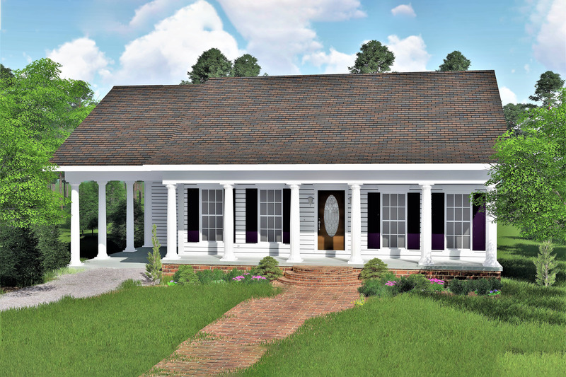 Country Exterior - Front Elevation Plan #44-159