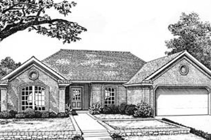 Traditional Style House Plan - 3 Beds 2 Baths 1278 Sq/Ft Plan #310-563 Exterior - Front Elevation
