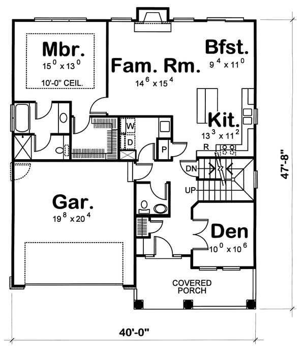 Home Plan Design - Farmhouse Floor Plan - Main Floor Plan #20-1221