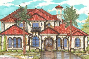 European Exterior - Front Elevation Plan #135-159