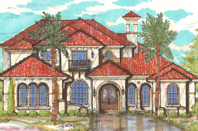 European Style House Plan - 4 Beds 5.5 Baths 6199 Sq/Ft Plan #135-159 Exterior - Front Elevation