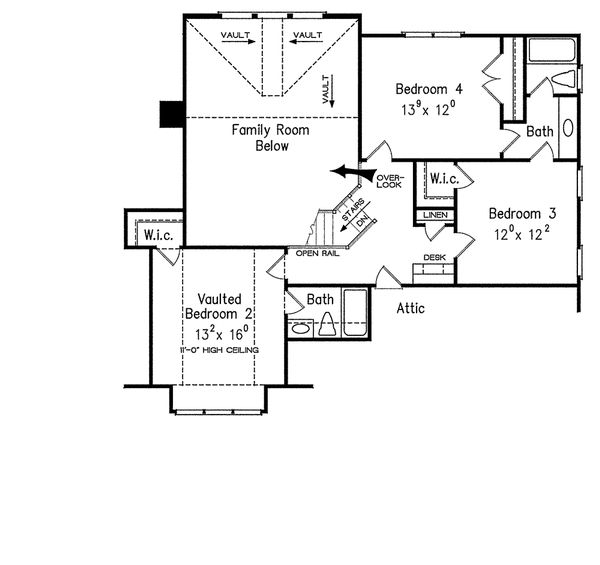 Craftsman Floor Plan - Upper Floor Plan Plan #927-4