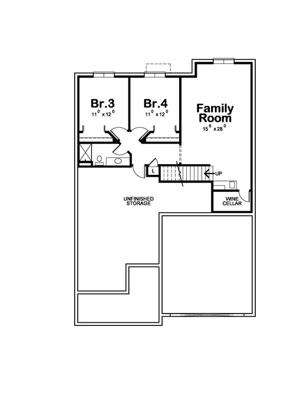 Craftsman Floor Plan - Lower Floor Plan #20-2415