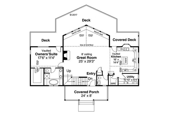 Contemporary Floor Plan - Main Floor Plan Plan #124-1095