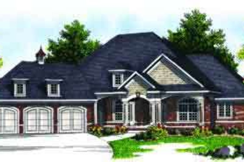 Traditional Style House Plan - 4 Beds 4.5 Baths 4407 Sq/Ft Plan #70-640 Exterior - Front Elevation