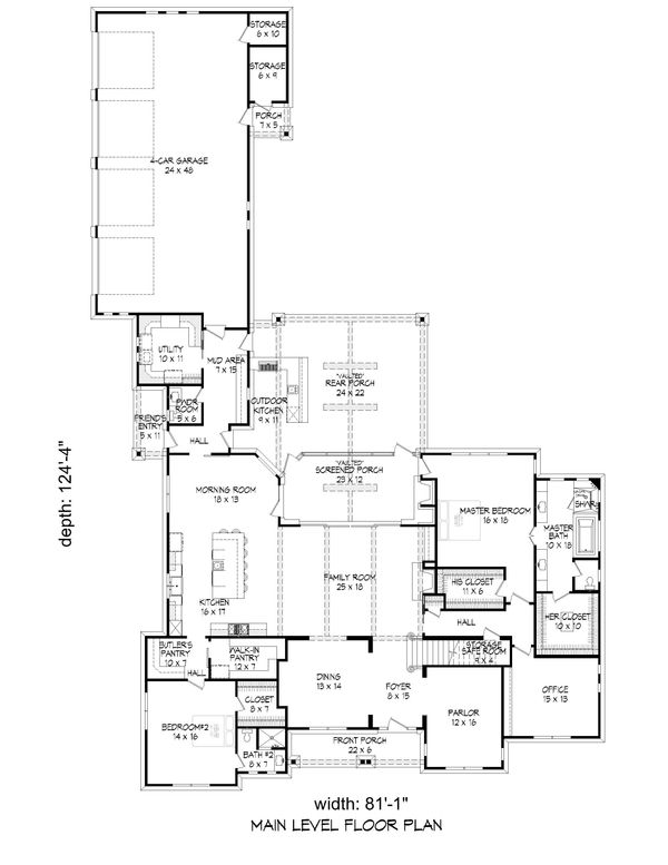 Country Floor Plan - Main Floor Plan Plan #932-66
