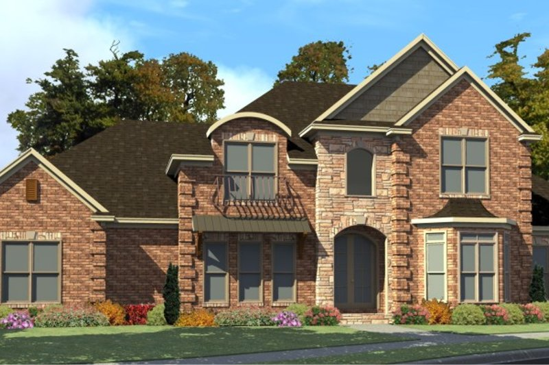 European Style House Plan - 4 Beds 3.5 Baths 3236 Sq/Ft Plan #63-212 Exterior - Front Elevation