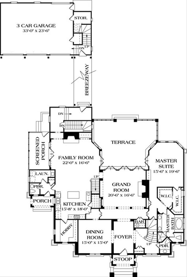 European Floor Plan - Main Floor Plan Plan #453-24
