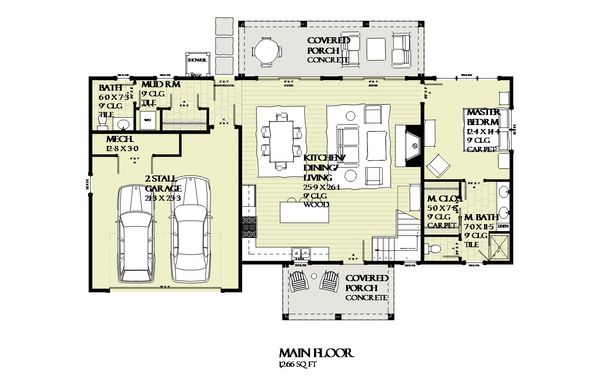 Farmhouse Floor Plan - Main Floor Plan Plan #901-132