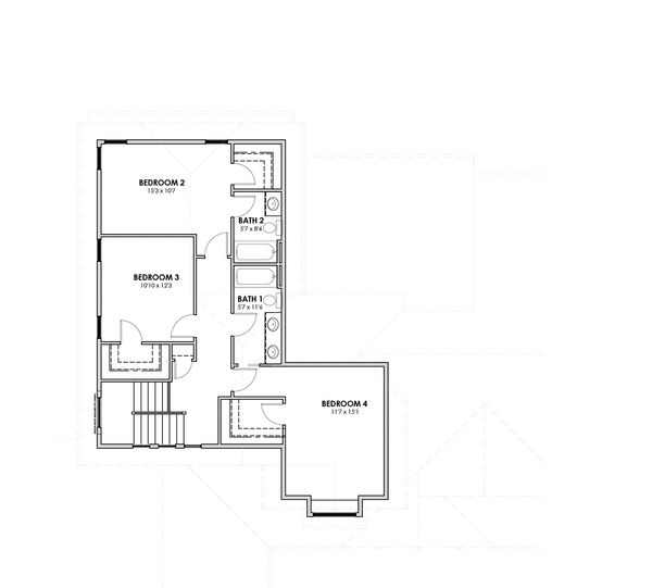 Craftsman Floor Plan - Upper Floor Plan Plan #1069-11