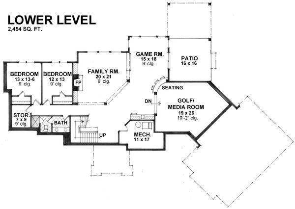 Craftsman Floor Plan - Lower Floor Plan Plan #51-581