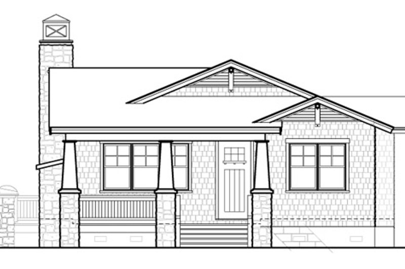 Bungalow Style House Plan - 3 Beds 2 Baths 1564 Sq/Ft Plan #490-26 Exterior - Front Elevation