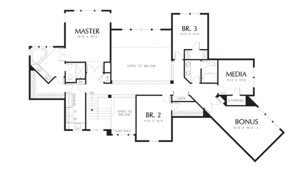 Craftsman Floor Plan - Upper Floor Plan Plan #48-353