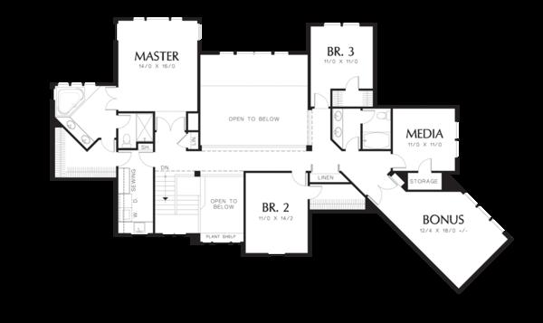 Craftsman Floor Plan - Upper Floor Plan Plan #48-353
