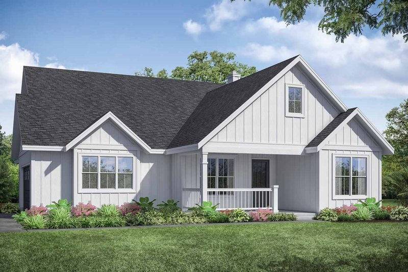 Ranch Exterior - Front Elevation Plan #124-1108