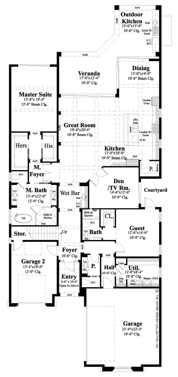 Mediterranean Floor Plan - Main Floor Plan Plan #930-481