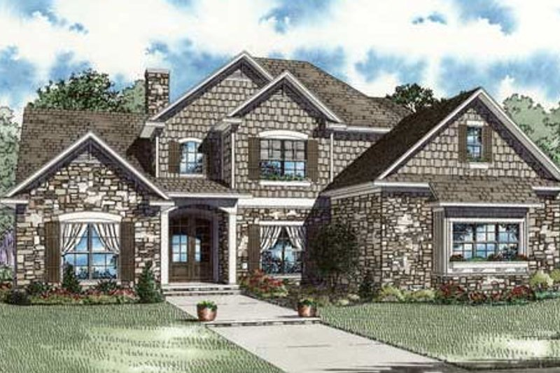 European Style House Plan - 3 Beds 3 Baths 3425 Sq/Ft Plan #17-2302 Exterior - Front Elevation