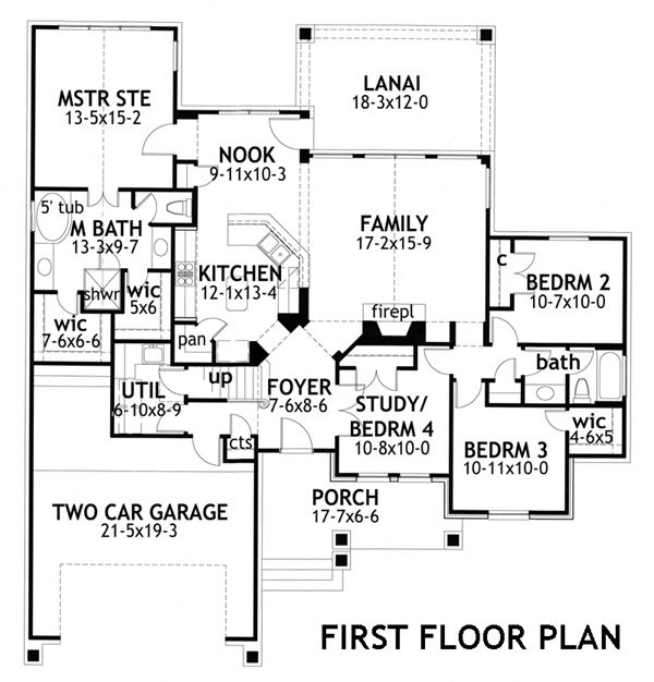 Craftsman Floor Plan - Main Floor Plan Plan #120-176
