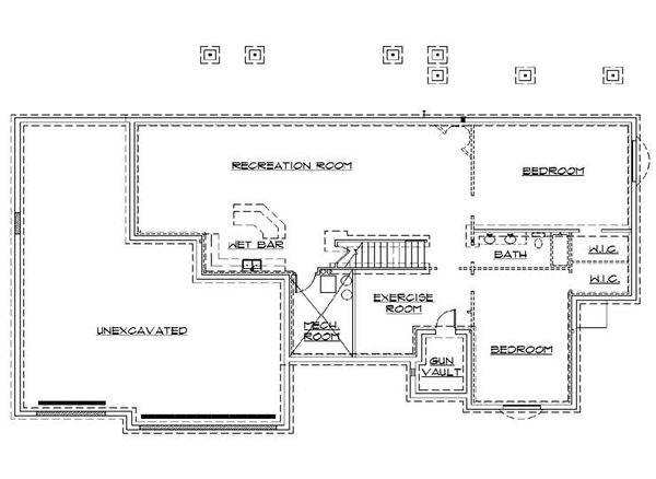 Architectural House Design - Traditional Floor Plan - Lower Floor Plan #5-253