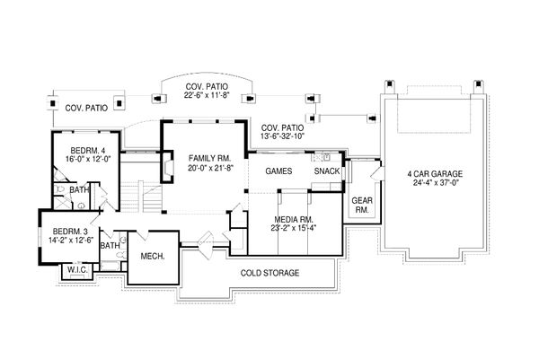 Craftsman Floor Plan - Lower Floor Plan Plan #920-70