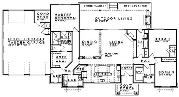 Craftsman Floor Plan - Main Floor Plan Plan #935-12
