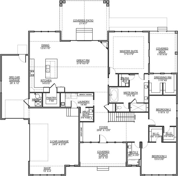 Craftsman Floor Plan - Main Floor Plan Plan #1073-14