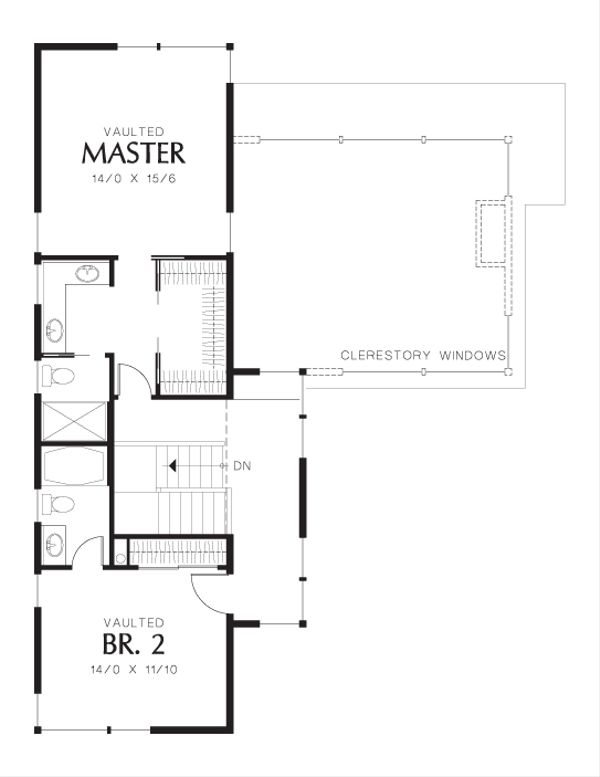 Modern Floor Plan - Upper Floor Plan Plan #48-637