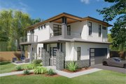 Prairie Style House Plan - 3 Beds 3 Baths 1927 Sq/Ft Plan #126-225 Exterior - Front Elevation