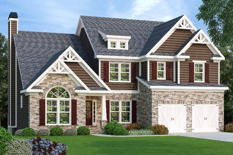 Craftsman Style House Plan - 4 Beds 3.5 Baths 2763 Sq/Ft Plan #419-165 Exterior - Front Elevation