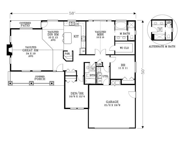 Craftsman Floor Plan - Main Floor Plan Plan #53-581