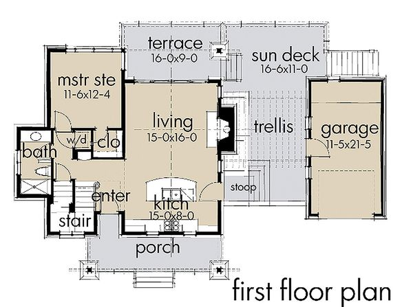 Contemporary Floor Plan - Main Floor Plan Plan #120-190