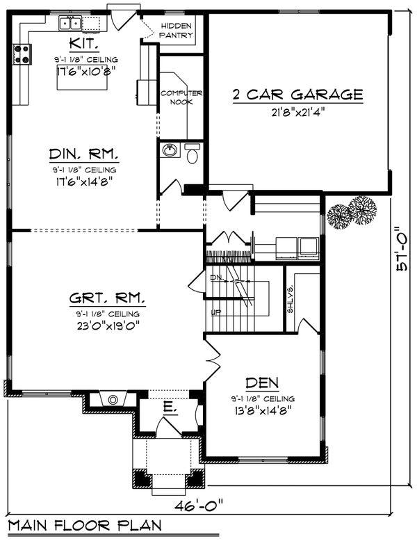 House Plan Design - Craftsman Floor Plan - Main Floor Plan #70-1228