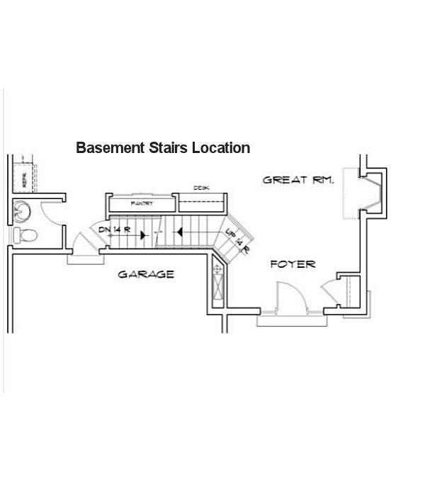 House Plan Design - Baserment Stairs Location - Plan 48-113