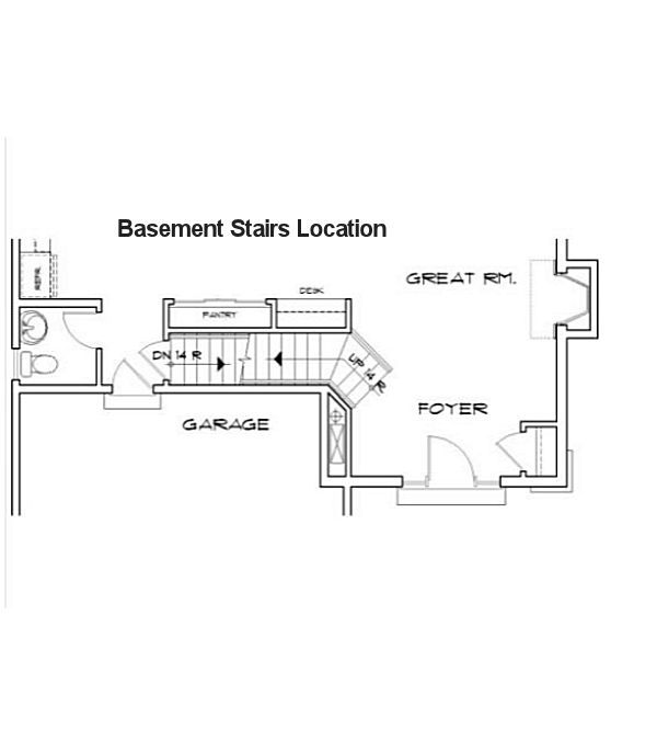 Baserment Stairs Location - Plan 48-113