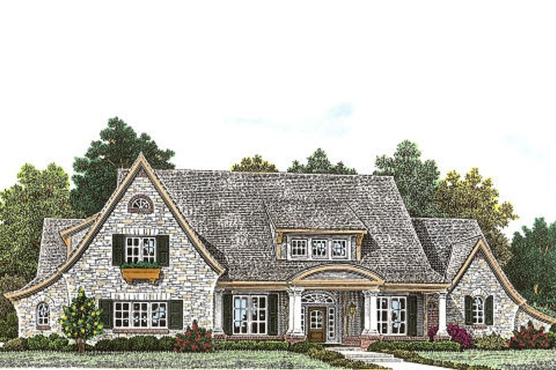 European Style House Plan - 3 Beds 3.5 Baths 2991 Sq/Ft Plan #310-959 Exterior - Front Elevation