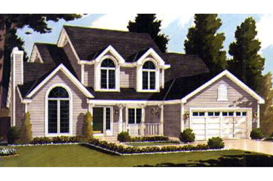European Exterior - Front Elevation Plan #3-196