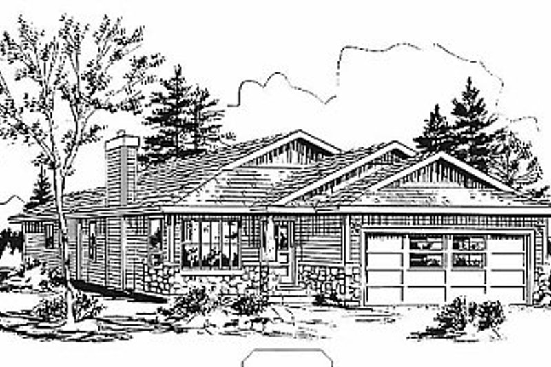Traditional Style House Plan - 3 Beds 2 Baths 1209 Sq/Ft Plan #18-1033 Exterior - Front Elevation
