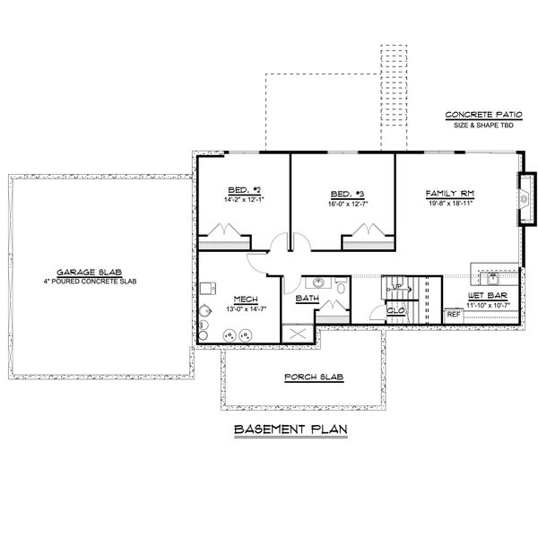 Craftsman Floor Plan - Lower Floor Plan Plan #1064-44