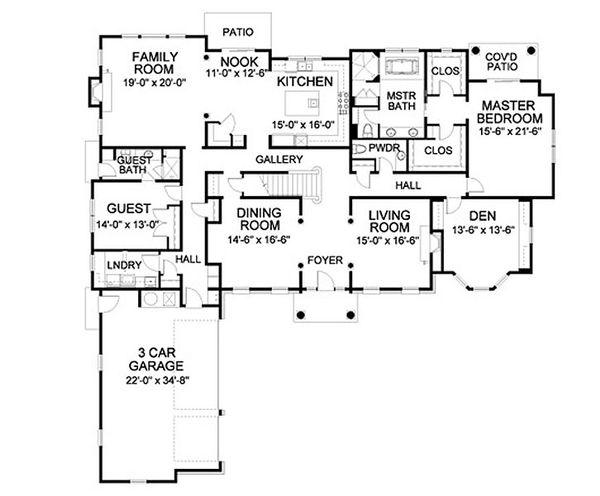 Traditional Floor Plan - Main Floor Plan Plan #490-2