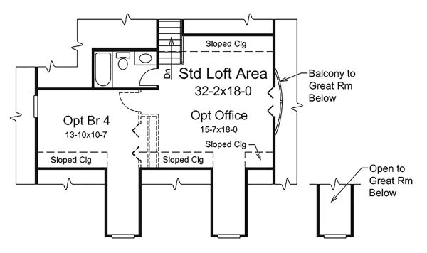 Country Floor Plan - Upper Floor Plan Plan #57-641