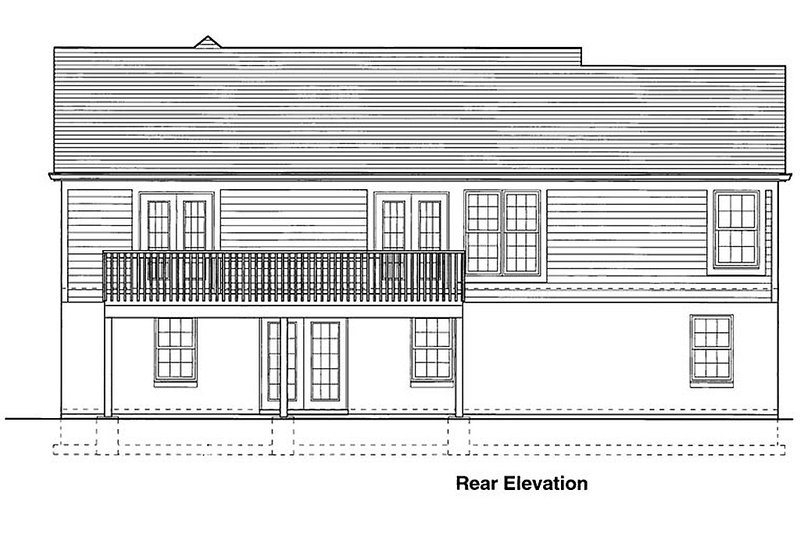 Traditional style home, rear elevation