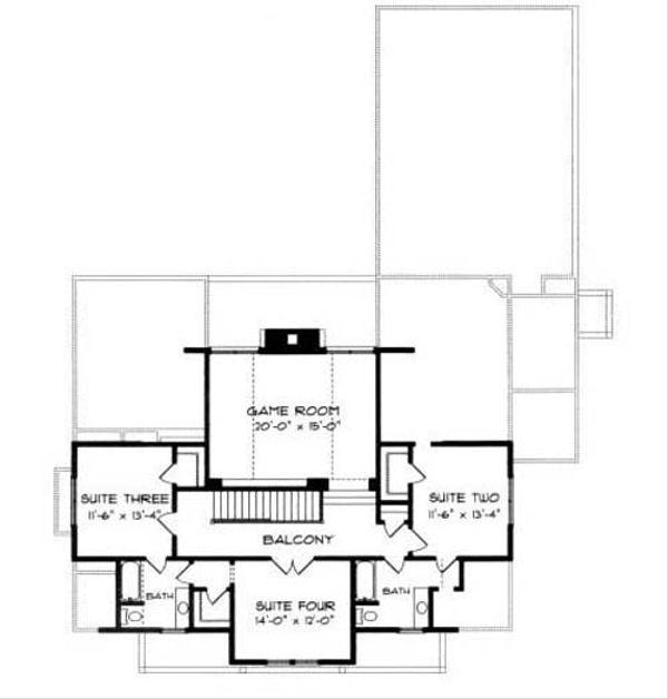 Craftsman Floor Plan - Upper Floor Plan Plan #413-105
