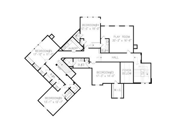 Craftsman Floor Plan - Upper Floor Plan #54-411