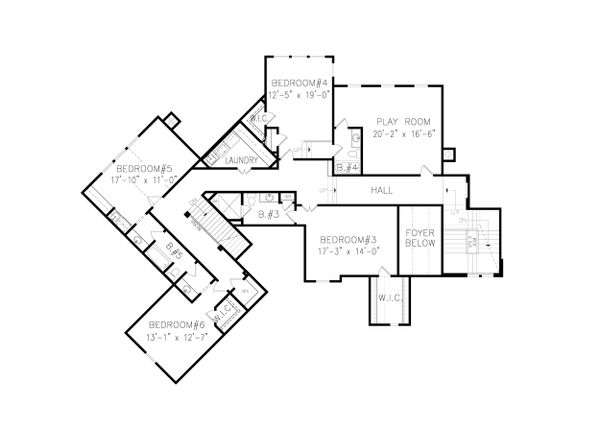 Craftsman Floor Plan - Upper Floor Plan Plan #54-411