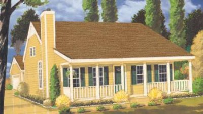 Southern Style House Plan - 3 Beds 2 Baths 1345 Sq/Ft Plan #3-112 Exterior - Front Elevation