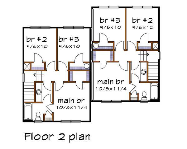 Traditional Floor Plan - Upper Floor Plan #79-239