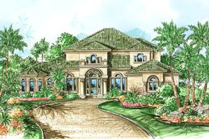 Mediterranean Exterior - Front Elevation Plan #27-217