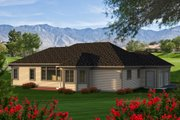 Ranch Style House Plan - 2 Beds 2 Baths 1943 Sq/Ft Plan #70-1166 Exterior - Rear Elevation
