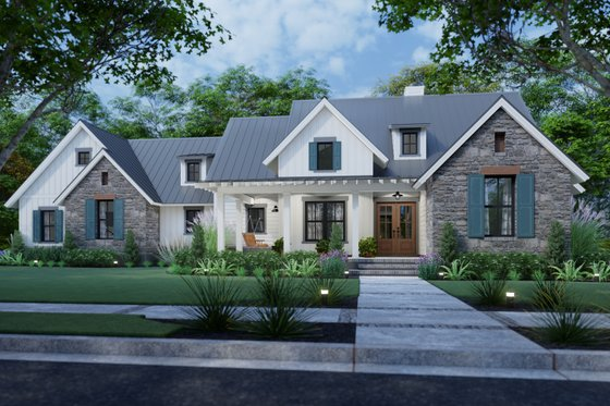 Architectural House Design - Farmhouse Exterior - Front Elevation Plan #120-270