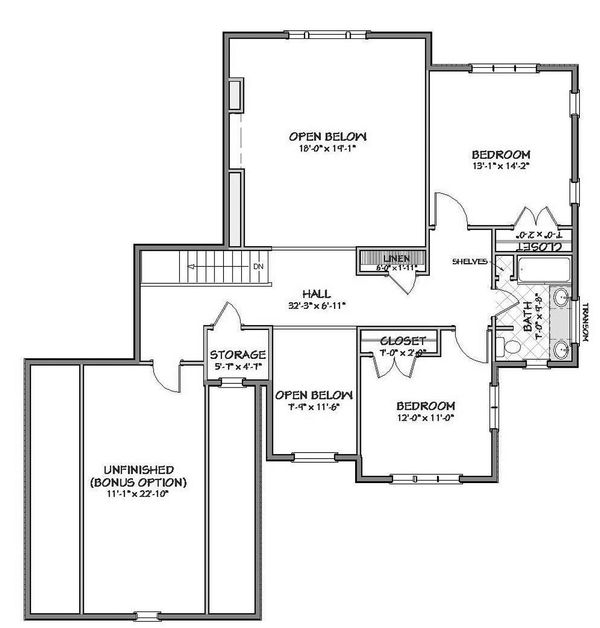 Farmhouse Floor Plan - Upper Floor Plan Plan #898-10